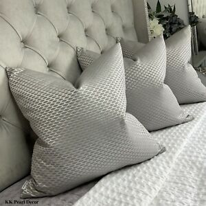 Cushion Pillow Cover & John Lewis & Partners Fabric Grey Silver Glamour Decor