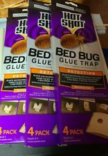 Hot Shot Bed Bug Glue Trap Lot of 3 Pesticide-Free 4-Pack X 3 (12 Traps Total)