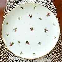 "Set of 4 -Sango China CHINTZ pattern 10 1/2"" Dinner Plates - Pink Rosebud/Gold T"