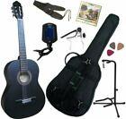 Pack Guitare Classique 3/4 Noire Mat Avec 7 Accessoires ~ Neuve & Garantie