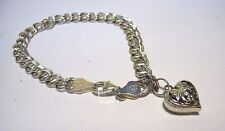 Sterling Silver Double Link Charm Bracelet Heart Charm Italy SU