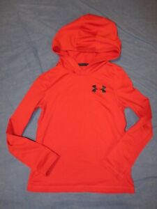 Boys Long Sleeved Hooded Top by UNDER ARMOUR - Youth XS - Red/Black - Fitted