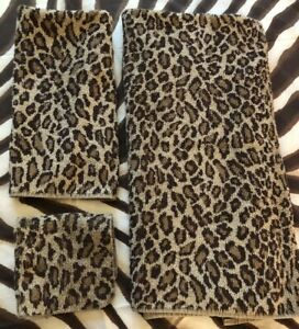 Vintage Ralph Lauren Aragon Leopard Set Bath Hand Towel Washcloth 3 piece Brown