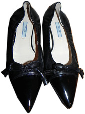 Prada Black Logo Leather Flat Loafer 36-6 Ballerina Ballet Pointed Cap Toe