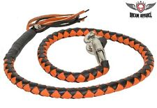 """36"""" Genuine Hand-Braided Leather Orange & Black Get Back Whip For Motorcycles"""