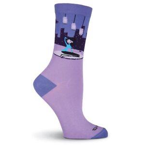K.Bell Shag Retro City Girl lady Purple Ladies Crew Cotton Blend Socks New