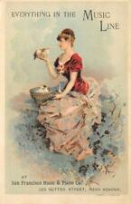 San Francisco Music & Piano Co. Sutter Street Antique Victorian Trade Card
