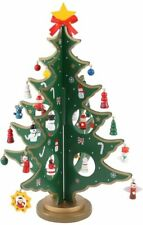 Desktop Wooden Christmas Tree Décor Christmas Toy Set with 24 Mini Ornament
