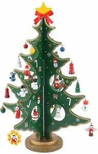 Desktop Wooden Christmas Tree Décor Christmas Toy Set with 24 Mini Ornament