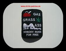 Biker Patch Gas Gras Ass!! Badge Biker Kutte Aufbügler Aufnäher Weed 9x7 cm