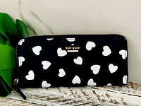 NWT Kate Spade White Hearts Lindsey wallet Black Continental Zip AUTHENTIC