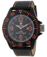 Smith & Wesson Mens SWW-LW6058 EGO Bold Large Black Dial Leather Band Watch