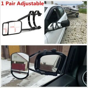 1 Pair Adjustable Clip-on Car Trailer Towing Mirror Extension Rear View Mirrors