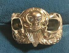 Massive 18K Airborne Ring w/Skull & Diamonds, from WW2 Vet D-Day Jump & Vietnam