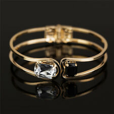 Gold Plated Crystal Rhinestone Bracelet Women Cuff Bangle Wristband Jewelry  R