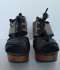 BACIO 61 WOMEN'S BLACK CHUNKY SOFFIO PLATFORM SANDALS SHOES SIZE 10 CHEVRON