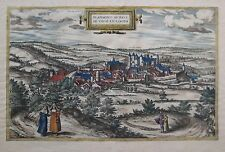 Original 1595 Braun & Hogenberg CHÂTEAU DE BLÂMONT Birds-Eye-View Map France