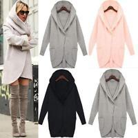 Women's Plus Size Hooded Sweatshirt Long Jacket Cape Cardigan Outerwear Coat CD