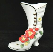 """Vintage Royal Crown Porcelain Womens Shoe Boot with Applied Red Flowers 5"""""""