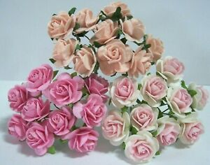 10x Mulberry paper Roses Flowers 2cm varied colours card making Wedding