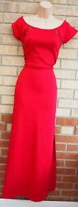 NEW LOOK RED BARDOT SHORT SLEEVE LACE BACK ONE SPLIT SIDE PARTY MAXI DRESS 10 S