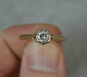 Natural 0.3ct Diamond Solitaire 9ct Gold Solitaire Engagement Ring f0506