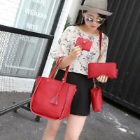 4pcs/set Soft Litchi Leather Tassel Women Tote Shoulder Handbags Card Bags Red