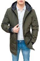 Trench giaccone uomo verde impermeabile casual invernale giacca con cappuccio