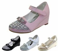 KOLLACHE Girls Wedge Heel Party Wedding Fancy Bow Diamante Shiny Sandals Shoes