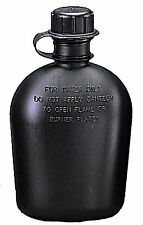 Black Military Style 1 Quart Canteen Plastic Hiking One Qt Canteen USA Made