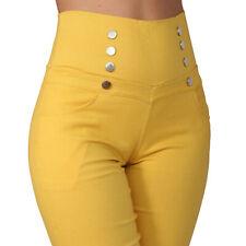 Damen Treggings Business High Waist Jeggings Jeans Hose Leggings Stretch Knöpfe