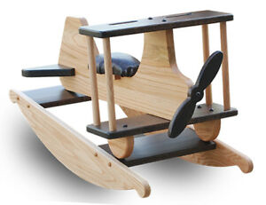 Amish Made Airplane Rocking Horse Solid Oak, Kids Toy, Natural Oak/Walnut Stains
