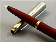 NEAR MINT PARKER 45 STEEL AND LIPSTICK RED FOUNTAIN PEN