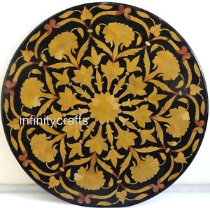 """21"""" Black Round Marble Coffee Table Top Mosaic Art Sofa Table for Living Room"""