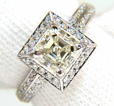 █$16000 2.20CT ASSCHER CUT DIAMOND RING HALO KNIFE EDGE 14KT BEST █