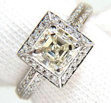 2.20CT ASSCHER CUT DIAMOND RING HALO KNIFE EDGE 14KT +