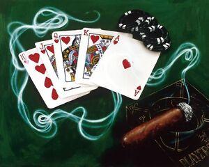 "**Michael Godard-""ROYAL FLUSH""-Las Vegas-Cigar-Gambling-Poker-Art**"