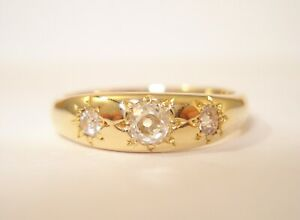 18ct Gold Old Cut Diamond Trilogy Ring with a £1,350.00 Safeguard Valuation