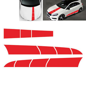 3pcs PVC Red Stripe Car Hood Body Sticker DIY Fit For Auto Truck Accessories