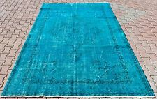 Vintage Turkish Turquoise Blue Overdyed Handmade Carpet Medallion Area Rug 7'x10