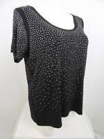 Calvin Klein Size 1X Jet Black Sparkle All Over Short Sleeve Embellished Top