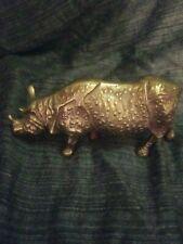 Rare Vintage Antique Solid Brass Rhino Rhinoceros Decorative Figurine 9� x 4�