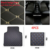 4X Stylish PU Leather Auto Floor Mats Black&Beige Line Pedal for Safe Driving &