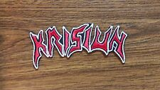 KRISIUN,IRON ON RED WITH WHITE EDGE EMBROIDERED PATCH