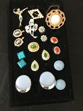 Vintage Costume Jewelry Lot Earrings RIng Sets Pins Celluloid Rhinestones Estate
