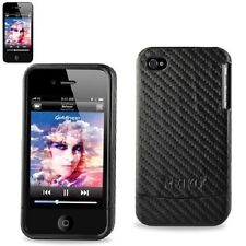 Reiko Black Leather Protector Fitted Case Cover for iPhone 4 + iPhone 4s