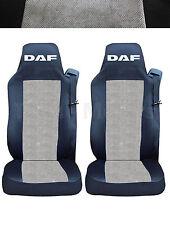 2x DAF XF105 XF 105 CF LF Coprisedili Fatti su misura Logo Camion Nero/Grigio DE