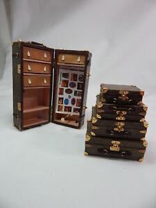 Heidi Ott Dollhouse Miniature Travel Trunk Luggage1:12 Scale 5 Pcs Olive #XZ017