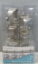 New Set of 12 Bathroom Shower Curtain Hooks Square Decorative Silver Metal Look