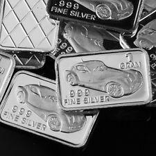 """Antique Car"" Design. Lot of 10, 1 gram .999 Fine silver bullion bar. NEW"